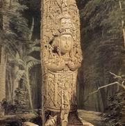 """Пример юбилейного """"большого камня"""". Стела H из Копана. Рисунок Ф.Казервуда."""
