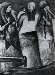 X. К. Ороско. Вдовы. Фрагмент. Фреска. 1926—1927. Галерея Большого двора Национальной подготовительной школы. III этаж