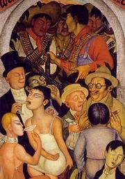 Д. Ривера. Ночь богачей. Фреска из цикла 'Всеобщая песнь'. 1926—1928. Министерство народного просвещения