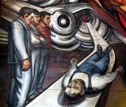Д. А, Сикейрос. Социальное обеспечение рабочих при капитализме и социализме. Фрагмент. Политекс. 1952—1954. Вестибюль в госпитале Де ла Раса