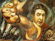 Д. А. Сикейрос. Автопортрет. Пироксилин. 1943. Музей изящных искусств, Мехико