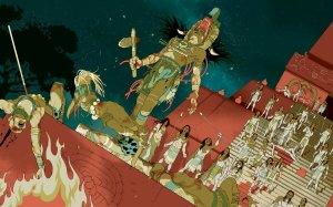 Момент триумфа царя Кануля. У его ног поверженный правитель Йашкукуля (Тикаля). Иллюстрация: TOMER HANUKA. SOURCE: SIMON MARTIN, UNIVERSITY OF PENNSYLVANIA