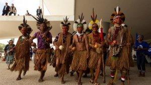 В Бразилии индейцы блокировали вход в президентский дворец. Фото: EFE
