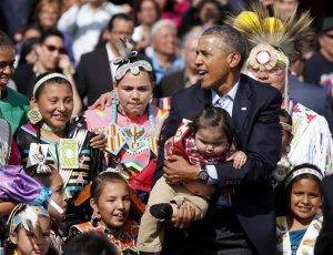 Президент США Барак Обама слетал к индейцам лакота резервации Стэндинг-Рок