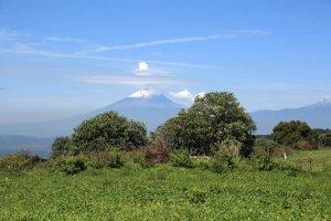 Вид с территории Тлашкалы на запад. На заднем плане видна гора Попокатепетль. Фото: Lane Fargher