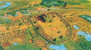 Кахокия около 1150 г. Планировка города, возможно, отражала космологические представления миссисипцев. (Реконструкция Cahokia Mounds Museum Society / Art Grossman.)