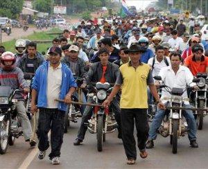 Акция крестьян Парагвая после бойни в Куругуати. Июль 2012 г.