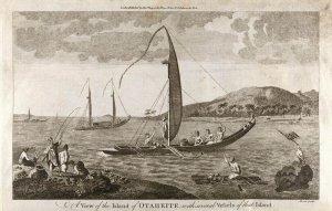 Гравюра таитянских судов, выполненная спустя несколько лет после исследования Полинезии и Таити капитаном Джеймсом Куком. Иллюстрация - SSPL, GETTY