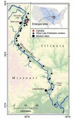 Карта Миссисипи и расположение Кахокии. Иллюстрация - S. Munoz et al./ PNAS