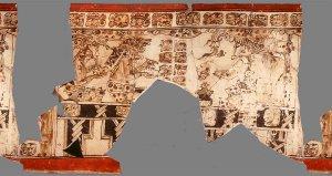 Ваза K8457. Сцена сохранилась лишь во фрагментах, но важна тем, что наряду с мастерами в этом случае представлен верховный небесный бог Ицамкокаах, который создает человека из глины.