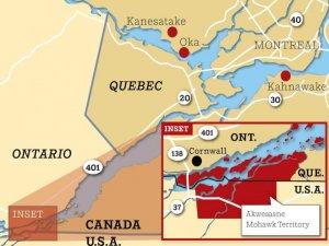 Жители резервации Аквесасне, чья территория располагается не только в Онтарио и Квебеке, но и продолжается на земле США, сталкиваются с трудностями пересечения границ. Карта: JEANINE LEE / MONTREAL GAZETTE / http://montrealgazette.com