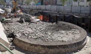 В Мехико в районе Тлателолько раскопан круглый храм бога ветра Эекатля. Фото: Alex Cruz / EPA