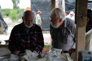 Рене Миллон (слева) и Джордж Каугилл (справа) изучают останки мегафауны в местечке, где было древнее производство соли (Текамак I) к северу от Экатепека, долина Мехико. Фото: Ian G. Robertson & Larry J. Gorenflo / FAMSI 2008