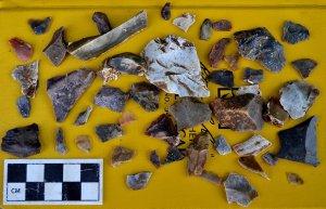 Камни со сколом палеоиндейского уровня. Фото - kgs.ku.edu/Odyssey/index.html