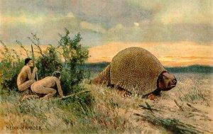 Палеоиндейцы охотятся на глиптодона. Где-то через 2000 лет после прихода человека в Юж.Америку глиптодоны полностью исчезают
