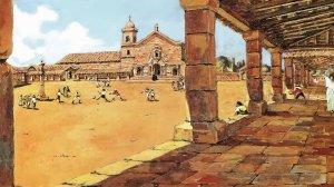 Картина, где нарисована игра индейцев гуарани в мяч в миссии иезуитов