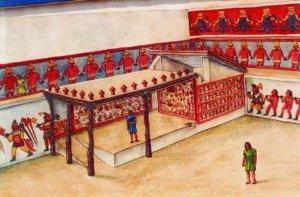 Реконструкция церемониальной части с огороженным местом северо-восточного угла площади 1 Уака-де-ла-Луна (Храма Луны)