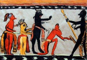 Анастасия Волкова. Рисунок на вазе Чама, изображающий богов майя.