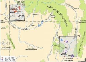 Расположение центральной Меса-Верде (север) и северного Рио-Гранде (юг). Илл.: doi.org/10.1371/journal.pone.0178882.g001