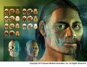 Реконструкция Кенневикского человека. Автор: Кейт Кэснот / www.kazstudios.com