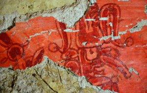 Фреска в гробнице Храма ХХ, Паленке. Фото - Hector Montano / INAH