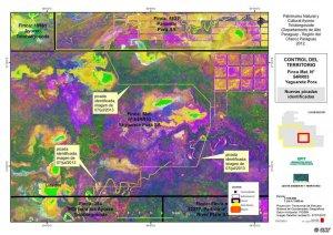 """Компания Yaguarete проложила бульдозерами новую дорогу (на снимке отмечена как """"picada identificada"""") через леса индейцев айорео. Они планируют расчистить от леса всю территорию справа от дороги"""