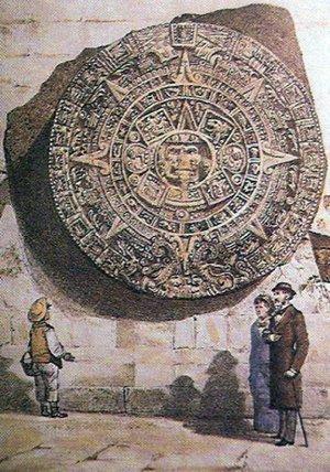 Камень Солнца у западной башни Кафедрального собора в Мехико. Изображение - Castillo Ledón, 1924.