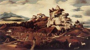 Картина Яна Мостарта (около 1475—1555) «Завоевание Америки» («Пейзаж Вест-Индии»), которая считается первым изображением американского континента в европейской живописи. Картина создана спустя лишь полвека после плавания Колумба.