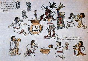 Церемония с потреблением хмельного напитка пульке согласно ацтекскому кодексу