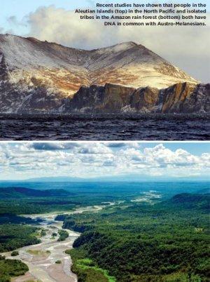 Последние исследования ДНК показали, что у жителей Алеутских островов (верх) на севере Тихого океана и изолированных племён джунглей Амазонии (низ) есть общие гены с австрало-меланезийцами. Источник: ж-л Archaeology. November/December 2015