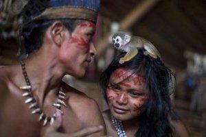 Обезьянка сидит на голове у индианки татуйо недалеко от Манауса, Бразилия, 19 мая 2014 года. Фото - Felipe Dana / AP