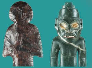 Фигурки из обсидиана (слева) и зелёного камня (справа). 200-250 гг. Теотиуакан. Фото: Jorge Peréz de Lara Elías, © INAH