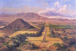 Пирамида Солнца и Дорога Мёртвых на рисунке 1878 года