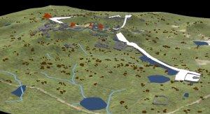 3D модель Тикаля с указанием водных резервуаров (синие), дорог (белые), домов (коричневые) и храмов (оранжевые). Период - 600 гг. и ранее. Модель университета Цинциннати