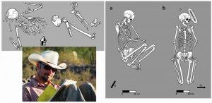 Биоархеолог Джеймс Уотсон делает полевые заметки. На иллюстрациях Caitlin McPherson представлены нетипичные захоронения, которые включают сломанные кости и другие признаки насильственной смерти