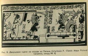 Рис 8. Дворцовая сцена на сосуде из Петена (Clarkson P. Classic Maya Pictoral Ceramics, сосуд № 4)