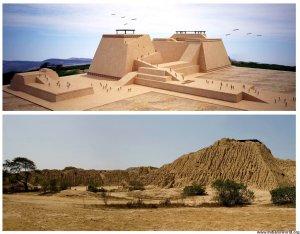 Археологический комплекс Уака-Рахада, где была найдена гробница культуры Мочика («Правителя Сипана»). Современное фото и реконструкция