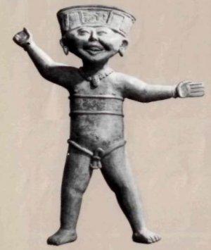Смеющаяся фигурка из глины. Высота 50 см. Мексика, VI век.