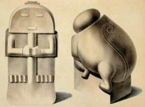 Две скульптуры, которые привлекли внимание М. Риверо. Слева - антропоморфное изображение, лицо которого, возможно, скрывает ритуальная маска. Справа - ягуароподобное существо с фигуркой человека в передних лапах (размер скульптуры 95 х 52 х 102 см). Эта скульптура, возможно, иллюстрирует жертвоприношения или, наоборот, покровительство со стороны предка-ягуара. Rivero М.Е. De, Tschudi J. Antigüedades peruanas. Vienna: impreta imperial de la corte y del estado, 1851. Ибероамериканский институт (г. Берлин, Германия)