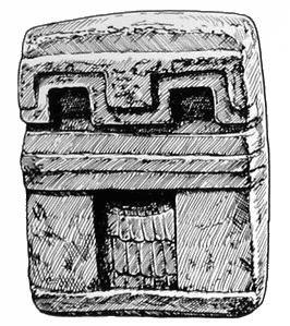 267. Маленькая каменная модель сапотекского храма, дверной проем которого закрыт занавесью из перьев.