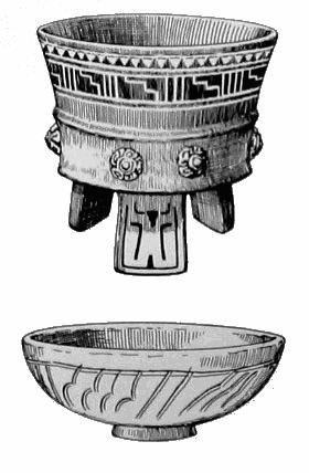 285. Сосуды в теотиуаканском стиле, найденные в Монте-Альбане. Цилиндрическая миска на треножнике с ножками в виде вогнутых плиток, и миска в виде полусферы на кольцевой подставке оранжевого цвета.