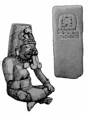 283. (Слева) Сапотекская погребальная урна из оахакского баррио в Теотиуакане. Высота 34 см.  284. (Справа) Косяк из гробницы, на котором написано сапотекское календарное имя 9 Землетрясение, найденный в оахакском баррио в Теотиуакане