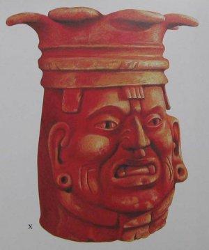 X Портретная курильница благовоний, покрытая алым пигментом, была зарыта под храмом в Сан-Хосе-Моготе. Период Монте-Альбан II (100 г. до н. э. – 200 г. н. э.). Высота 55 см. Рисовал Джон Клаусмейер.