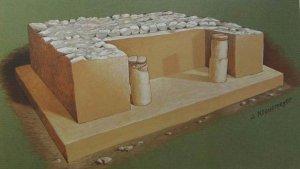 IX Желтый Храм из Дайнсу, построенный во время перехода от фазы Монте-Альбан I к фазе Монте-Альбан II, отражает раннюю стадию эволюции сапотекского храма (первое или второе столетие до н. э.). Ширина дверного проема 3 м.