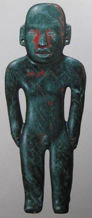 XVI Жадеитовая статуэтка, зарытая под полом сапотекского храма (Структура 35 в Сан-Хосе-Моготе). Период Монте-Альбан II (100 г. до н. э. – 200 г. н. э.). Высота 49 см. Рисовал Джон Клаусмейер.