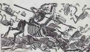 Хосе Гваделупе Посады (1851—1913). На этой гравюре скелет Дон-Кихота, восседающий на скелете Россинанта, хохоча, крушит скелеты былых врагов «благородного идальго»