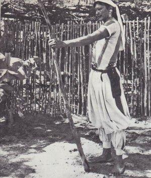 парагвайский индеец сооружает изгородь вокруг своего жилища