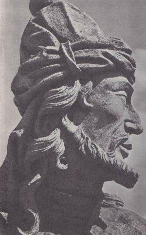 Изображение фигуры пророка из церкви Бон-Жезус-ди-Матозиньюс в Конгоньяе-ду-Кампу (Бразилия) — работа замечательного бразильского скульптора XVIII века Алейжадинью