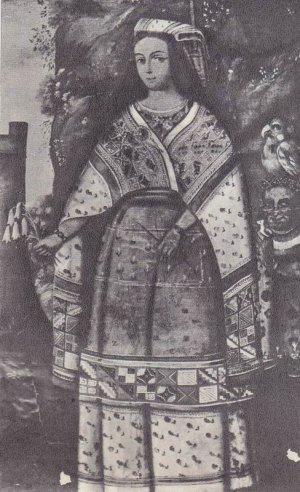 портрет принцессы инков с букетом священных цветов в руке (XVII век)