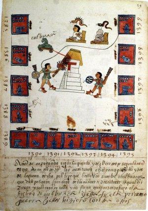 Рис.4. Лист 29r Кодекса Теллериано-Ременсис, где показано разрушение Кольуакана (даты могут быть ошибочными). Ацтеки тогда были на стороне тепанеков.